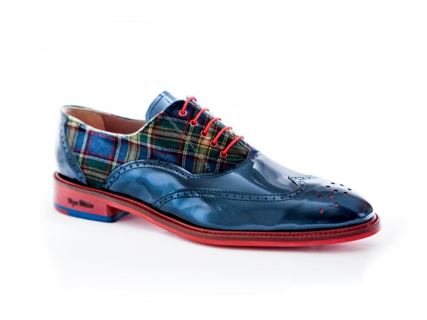 charol modelo y Scottisfabricado escocés metal Zapato a en azul ulJ15Fc3TK