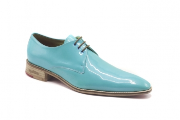 Maldives model shoe, made in Turquoise Metal Patent Leather