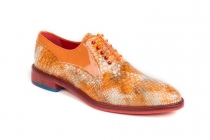 Micaelle model shoe, made in orange anaconda and orange patent leather.