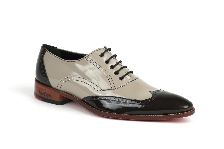 Zapato modelo micky fabricado en charol moro y charol piedra - Charol zapateria ...
